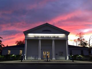 Entrance to Salem Free Public Library at sunset